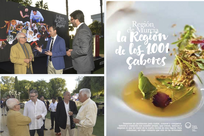 Arriba, con el consejero Javier Celdrán y el director general de Turismo, Manuel Fernández Delgado. A la derecha, una de las imágenes promocionales. Abajo, varios miembros de la Academia de Gastronomía, en el acto de presentación.
