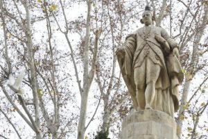Escultura de Floridablanca, en el jardín que lleva su nombre. / V. VICENS