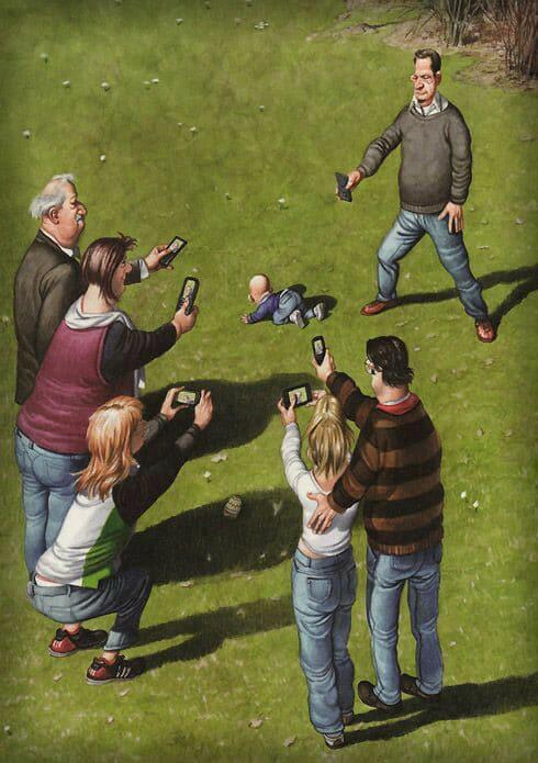 Individuos introduciendo en sociedad a nuevo individuo. Vía Facebook (fuente: Suffle Sketch)