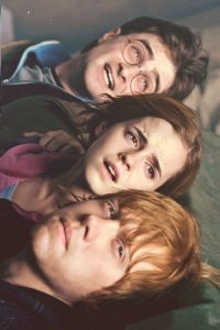 Harry, Hermione and Ron are spotted by Deatheaters. They hide and Harry sends Patronus. Hogsmeade. (SC210)